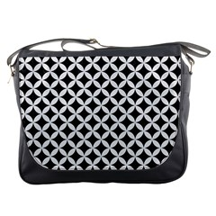 Circles3 Black Marble & White Linen (r) Messenger Bags by trendistuff