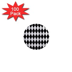 Diamond1 Black Marble & White Linen 1  Mini Magnets (100 Pack)  by trendistuff