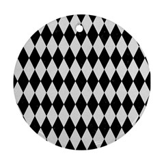 Diamond1 Black Marble & White Linen Round Ornament (two Sides) by trendistuff