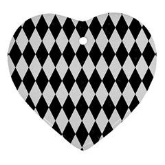 Diamond1 Black Marble & White Linen Heart Ornament (two Sides) by trendistuff