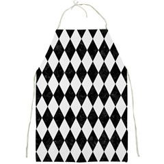 Diamond1 Black Marble & White Linen Full Print Aprons by trendistuff