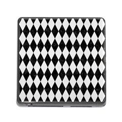 Diamond1 Black Marble & White Linen Memory Card Reader (square) by trendistuff