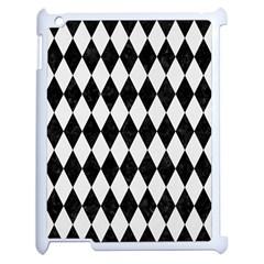 Diamond1 Black Marble & White Linen Apple Ipad 2 Case (white) by trendistuff