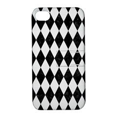 Diamond1 Black Marble & White Linen Apple Iphone 4/4s Hardshell Case With Stand by trendistuff