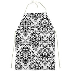 Damask1 Black Marble & White Linen Full Print Aprons by trendistuff