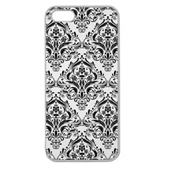 Damask1 Black Marble & White Linen Apple Seamless Iphone 5 Case (clear) by trendistuff