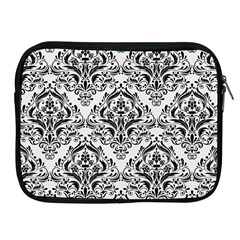 Damask1 Black Marble & White Linen Apple Ipad 2/3/4 Zipper Cases by trendistuff