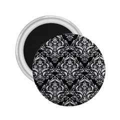Damask1 Black Marble & White Linen (r) 2 25  Magnets by trendistuff
