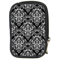 Damask1 Black Marble & White Linen (r) Compact Camera Cases by trendistuff