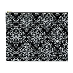 Damask1 Black Marble & White Linen (r) Cosmetic Bag (xl) by trendistuff