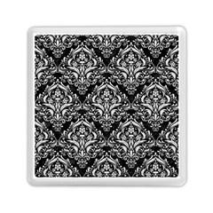 Damask1 Black Marble & White Linen (r) Memory Card Reader (square)