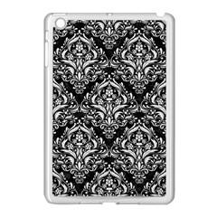 Damask1 Black Marble & White Linen (r) Apple Ipad Mini Case (white) by trendistuff