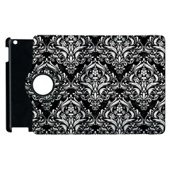 Damask1 Black Marble & White Linen (r) Apple Ipad 3/4 Flip 360 Case by trendistuff