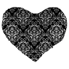 Damask1 Black Marble & White Linen (r) Large 19  Premium Flano Heart Shape Cushions by trendistuff