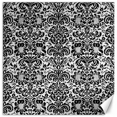 Damask2 Black Marble & White Linen Canvas 20  X 20   by trendistuff