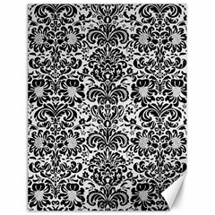 Damask2 Black Marble & White Linen Canvas 18  X 24   by trendistuff