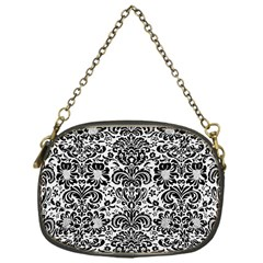 Damask2 Black Marble & White Linen Chain Purses (one Side)  by trendistuff