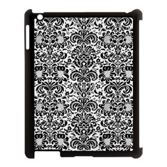 Damask2 Black Marble & White Linen Apple Ipad 3/4 Case (black) by trendistuff