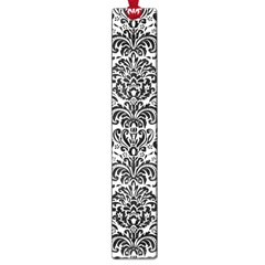 Damask2 Black Marble & White Linen Large Book Marks by trendistuff