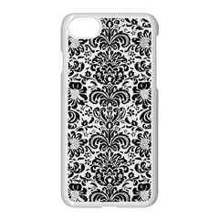 Damask2 Black Marble & White Linen Apple Iphone 8 Seamless Case (white)