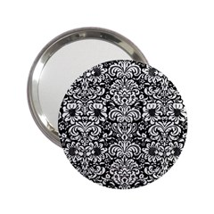 Damask2 Black Marble & White Linen (r) 2 25  Handbag Mirrors
