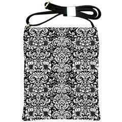 Damask2 Black Marble & White Linen (r) Shoulder Sling Bags by trendistuff