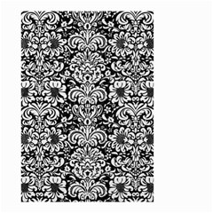 Damask2 Black Marble & White Linen (r) Small Garden Flag (two Sides) by trendistuff