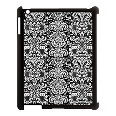 Damask2 Black Marble & White Linen (r) Apple Ipad 3/4 Case (black) by trendistuff
