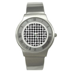 Houndstooth1 Black Marble & White Linen Stainless Steel Watch by trendistuff