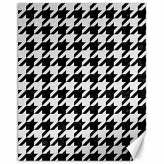 Houndstooth1 Black Marble & White Linen Canvas 11  X 14   by trendistuff