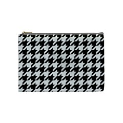Houndstooth1 Black Marble & White Linen Cosmetic Bag (medium)  by trendistuff