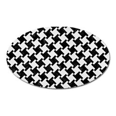 Houndstooth2 Black Marble & White Linen Oval Magnet by trendistuff