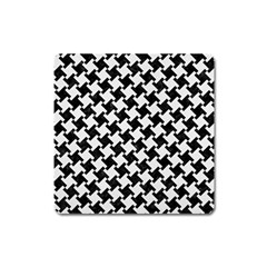 Houndstooth2 Black Marble & White Linen Square Magnet by trendistuff