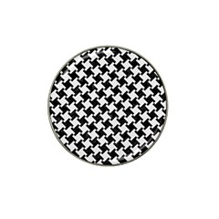 Houndstooth2 Black Marble & White Linen Hat Clip Ball Marker (10 Pack) by trendistuff