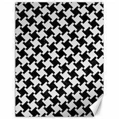 Houndstooth2 Black Marble & White Linen Canvas 12  X 16   by trendistuff