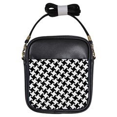 Houndstooth2 Black Marble & White Linen Girls Sling Bags by trendistuff