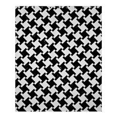 Houndstooth2 Black Marble & White Linen Shower Curtain 60  X 72  (medium)  by trendistuff