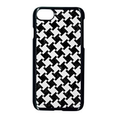 Houndstooth2 Black Marble & White Linen Apple Iphone 8 Seamless Case (black)