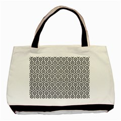 Hexagon1 Black Marble & White Linen Basic Tote Bag by trendistuff