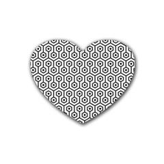 Hexagon1 Black Marble & White Linen Heart Coaster (4 Pack)