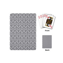Hexagon1 Black Marble & White Linen Playing Cards (mini)  by trendistuff