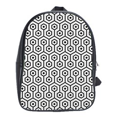 Hexagon1 Black Marble & White Linen School Bag (xl)