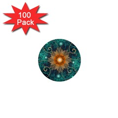Beautiful Tangerine Orange And Teal Lotus Fractals 1  Mini Buttons (100 Pack)  by jayaprime