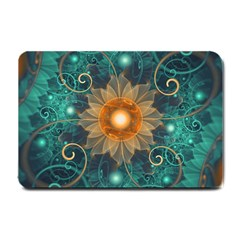 Beautiful Tangerine Orange And Teal Lotus Fractals Small Doormat  by jayaprime