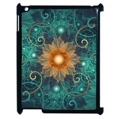 Beautiful Tangerine Orange And Teal Lotus Fractals Apple Ipad 2 Case (black) by jayaprime