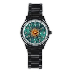 Beautiful Tangerine Orange And Teal Lotus Fractals Stainless Steel Round Watch by beautifulfractals
