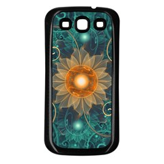Beautiful Tangerine Orange And Teal Lotus Fractals Samsung Galaxy S3 Back Case (black) by beautifulfractals