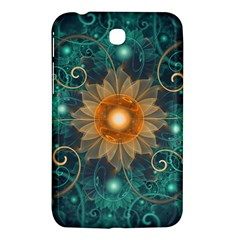 Beautiful Tangerine Orange And Teal Lotus Fractals Samsung Galaxy Tab 3 (7 ) P3200 Hardshell Case  by jayaprime