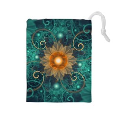 Beautiful Tangerine Orange And Teal Lotus Fractals Drawstring Pouches (large)  by beautifulfractals