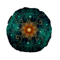 Beautiful Tangerine Orange And Teal Lotus Fractals Standard 15  Premium Flano Round Cushions by jayaprime